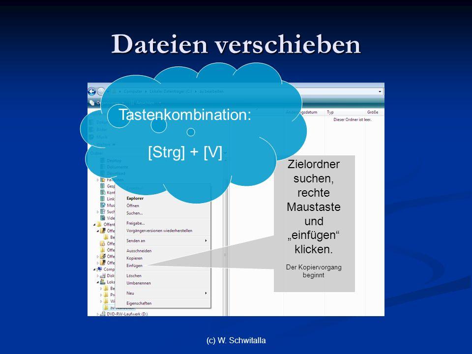 Dateien verschieben Tastenkombination: [Strg] + [V]